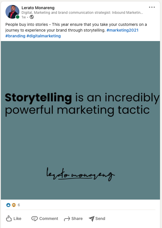 an example of how I use images to share quotes which helps me promote my personal brand
