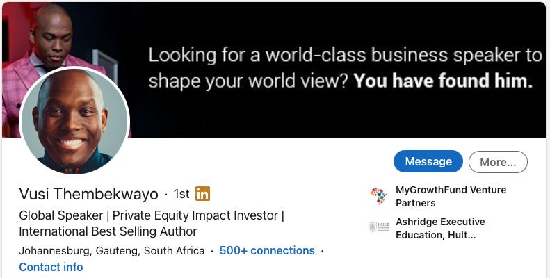 Vusi Thembekwayo - Global Speaker - Private Equity Impact Investor - International Best Selling Author