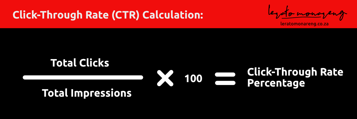 Divide the number of clicks by the number of impressions and multiply by 100 to get your CTR percentage.