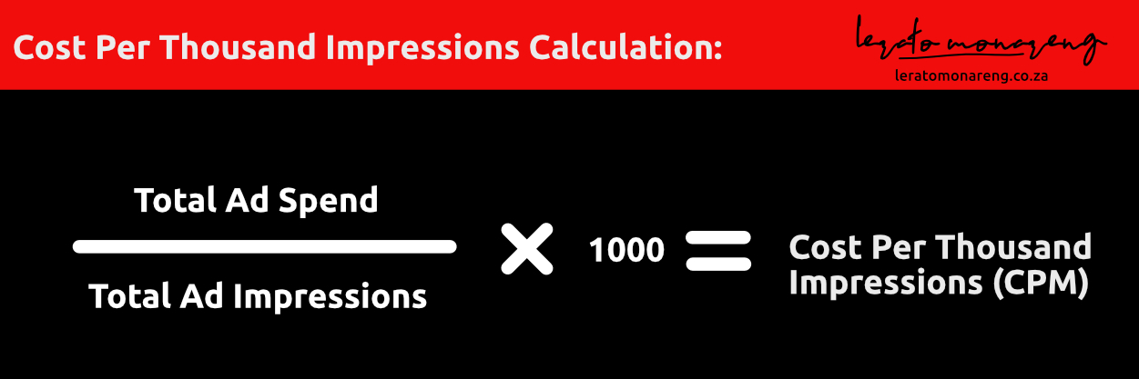 Divide total ad spend by total ad impression times 1000 to get CPM